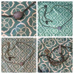 Kendra Scott Blue silver lace agate Mara necklace